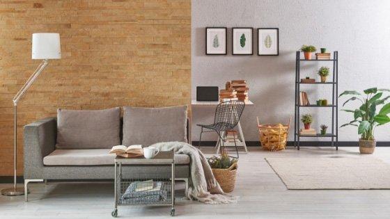light gray laminate flooring in the living room