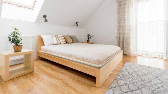 hardwood floor in bedroom