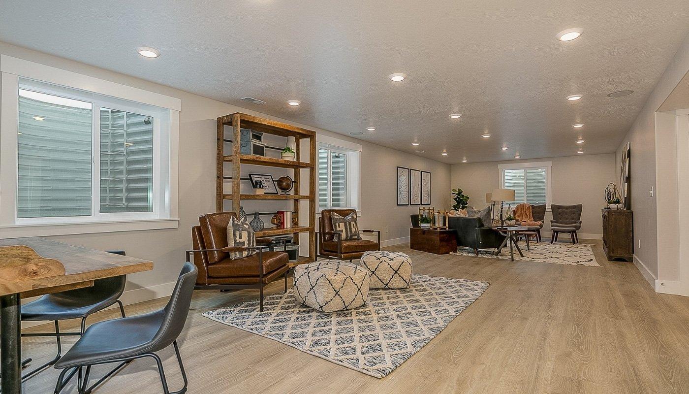 hardwood flooring in basement